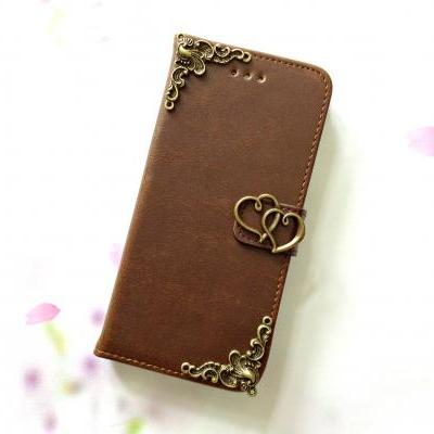Heart iphone 6 4.7 leather wallet case, Vintage iphone 6 plus leather wallet case, iphone 5c, 5, 5s leather wallet case, samsung galaxy S3, S4, S5, S6, S6 Edge, Note 3, Note 4, Note 4 Edge leather wallet case, item no.53