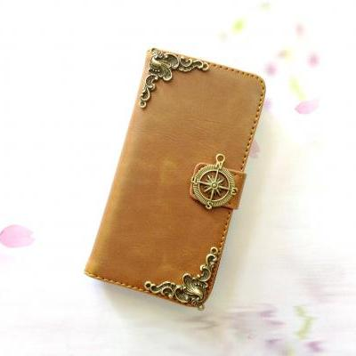 Compass iphone 6 4.7 leather wallet case, Vintage iphone 6 plus leather wallet case, iphone 5c, 5, 5s leather wallet case, samsung galaxy S3, S4, S5, S6, S6 Edge, Note 3, Note 4, Note 4 Edge leather wallet case, item no.151