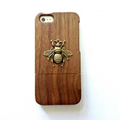Bee iphone 6 4.7 wood case, Vintage iphone 6 plus wood case, iphone 5c, 5, 5s wood case, samsung galaxy S4, S5, S6, S6 Edge, Note 3, Note 4, real wood case, item no.248