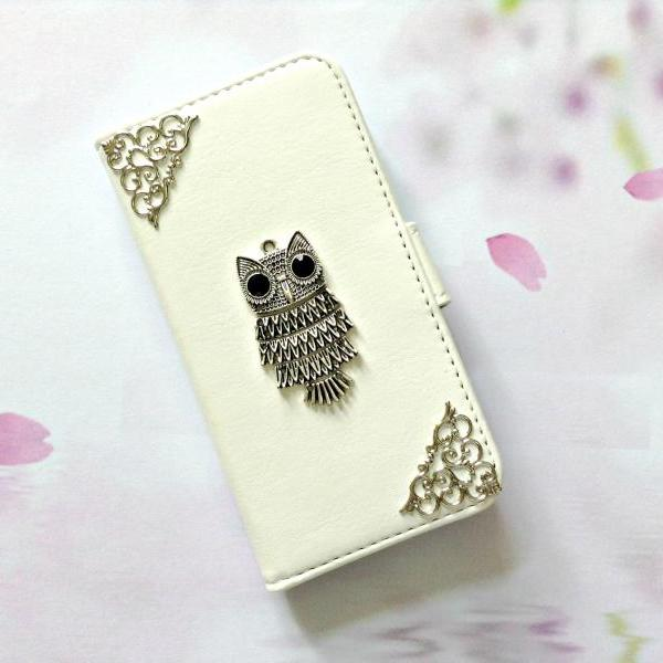 Owl iphone 6 6s 4.7 leather wallet case, Vintage iphone 6 6s plus leather wallet case, iphone SE, iphone 5c, 5, 5s leather wallet case, samsung galaxy S4, S5, S6, S6 Edge, S7, S7 Edge, Note 3, Note 4, Note 4 Edge, Note 5, leather wallet case, white leather wallet case, item no.90