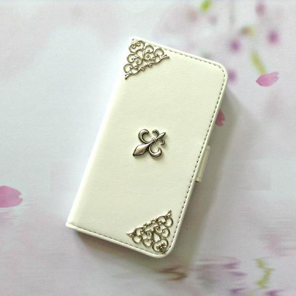 Fleur de Lis iphone 6 6s 4.7 leather wallet case, Vintage iphone 6 6s plus leather wallet case, iphone SE, 5c, 5, 5s leather wallet case, samsung galaxy S4, S5, S6, S6 Edge, S7, S7 Edge, Note 3, Note 4, Note 4 Edge, Note 5, leather wallet case, white leather wallet case, item no.166