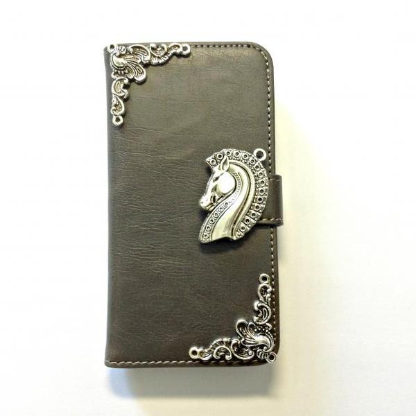Horse iphone 6 4.7 grey leather wallet case, Vintage iphone 6 plus leather wallet case, iphone 5c, 5, 5s leather wallet case, samsung galaxy S3, S4, S5, S6, S6 Edge, Note 3, Note 4, Note 4 Edge leather wallet case, item no.354